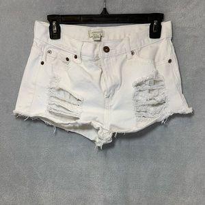 Forever 21 White Jean Shorts